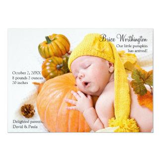 Fall-Foto-Geburts-Mitteilung 12,7 X 17,8 Cm Einladungskarte