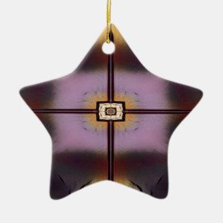 Fall-gelbes magentarotes modernes symmetrisches keramik ornament
