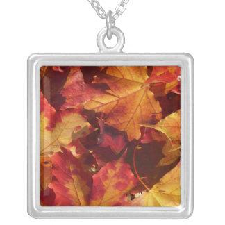 Fall-Herbst-Blätter Versilberte Kette