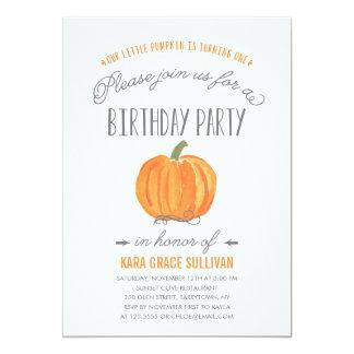 Fall-Kürbis Ombre   erste Geburtstags-Einladung 12,7 X 17,8 Cm Einladungskarte
