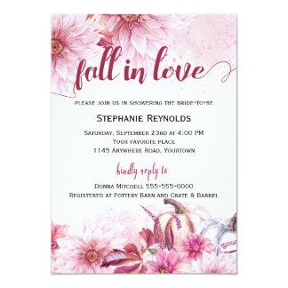 Fall-Kürbis-und Dahlie-Brautparty-Einladung 12,7 X 17,8 Cm Einladungskarte
