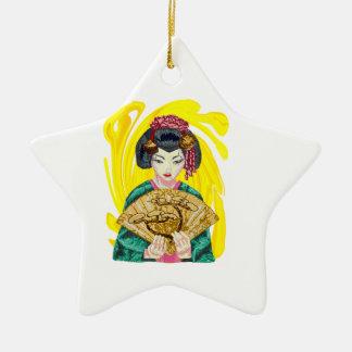 Fallen in Liebe mit dem Geisha-Mädchen Keramik Stern-Ornament