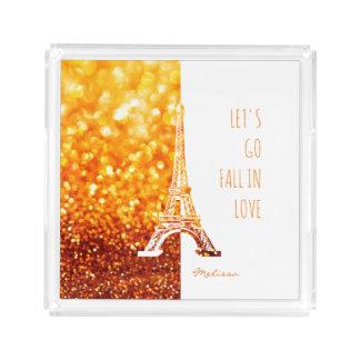 Fallen Sie in romantischen Eiffel Turm Liebe Paris Acryl Tablett