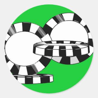 Fallende Pokerchips auf Grünfilz Runder Aufkleber