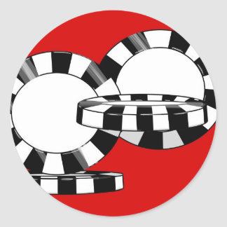 Fallende Pokerchips in Schwarzweiss mit Rot Runder Aufkleber