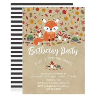 FallFox scherzt Sandy-Waldgeburtstags-Party Karte