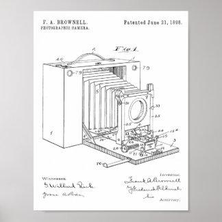 Falten-Kamera-Patent-Kunst 1898, die Druck Poster