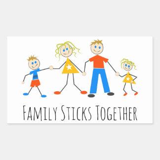 Familie haftet zusammen rechteckiger aufkleber