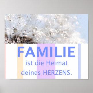 Familie Herz Liebe - schöne Sprüche Zitate deutsch Poster