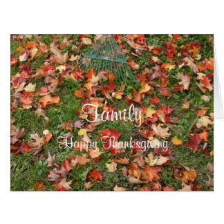 Familien-Danksagungs-Fall-Ahorn-Blätter und Riesige Grußkarte