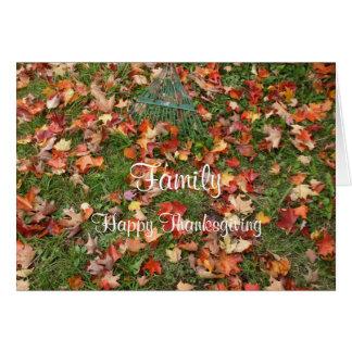 Familien-Danksagungs-Fall-Ahorn-Blätter und Karte