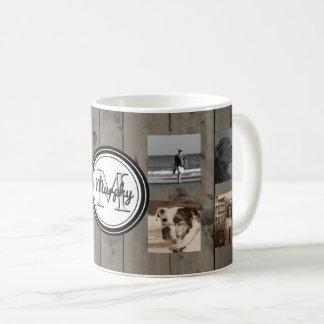 Familien-Foto-Collagen-Monogramm-rustikales Holz Kaffeetasse