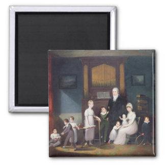 Familien-Gruppe in einem Innenraum, c.1800 Quadratischer Magnet