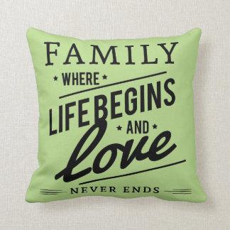 Familien-Liebe blasses es-grün Throwkissen Kissen