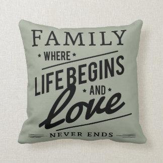 Familien-Liebe graues Throwkissen Zierkissen