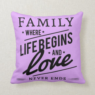 Familien-Liebe lila Throwkissen Kissen