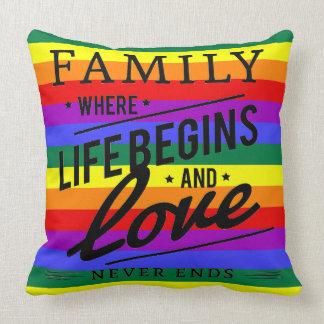 Familien-Liebestolzregenbogen Throwkissen Kissen