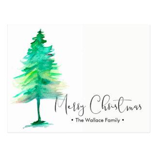 Familien-Weihnachten Pinetree, personifizieren Postkarte