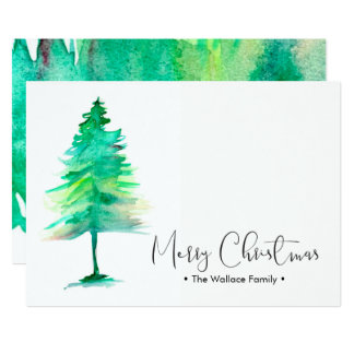 Familien-WeihnachtsWatercolor Pinetree, Karte