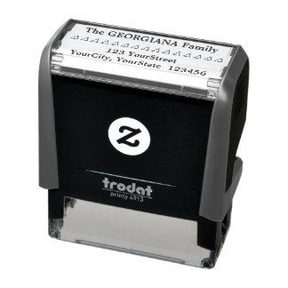 Familienname + Adresse + Dreieck-Gummi-Briefmarke Permastempel