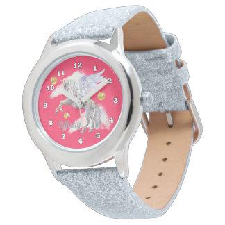Fantasie-Einhorn addieren Namensmädchenuhr Armbanduhr