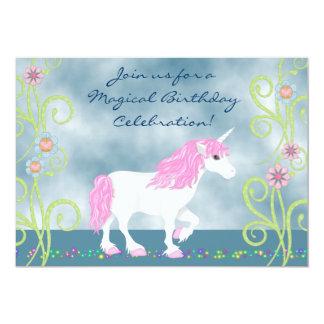 Fantasie-Einhorn-Geburtstags-Einladung für Mädchen 12,7 X 17,8 Cm Einladungskarte
