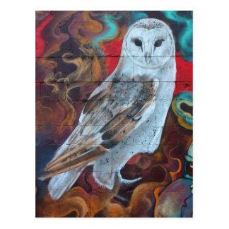 Fantasie-Graffitisnowy-Eule Postkarte