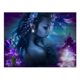 Fantasie-Prinzessin With ein Welpe Postkarte