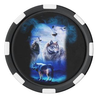 Fantasie-Wolf-Mond-Berg Poker Chips Set