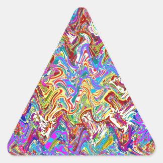 Fantastische Wellen-bunte abstrakte Kunst Dreieckiger Aufkleber
