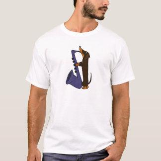 Fantastischer Dackel-Hund, der Saxophone spielt T-Shirt