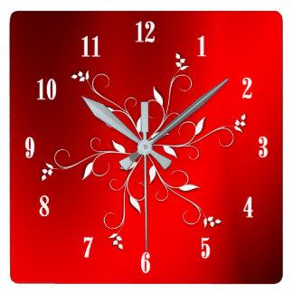 Fantastischer roter weißer Zahl-Akzent Quadratische Wanduhr