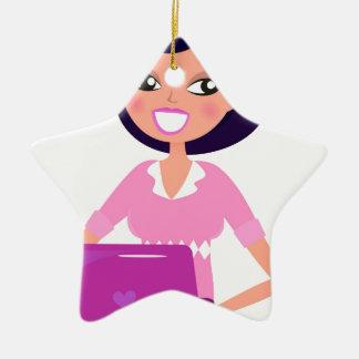 Fantastischer Sekretär Mädchen mit rosa Laptop Keramik Stern-Ornament