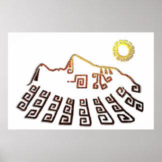 Fantastisches Machu_Picchu Cusco Peru Zeichnen Poster