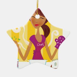 Fantastisches niedliches Vintages Mädchen in der Keramik Stern-Ornament
