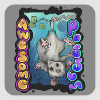 Fantastisches Opossum! Quadratischer Aufkleber