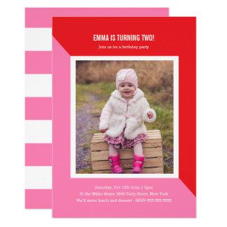 Farbblock-Foto-Kindergeburtstag Karte