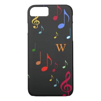 Farben auf schwarzen musikalischen Anmerkungen iPhone 8/7 Hülle