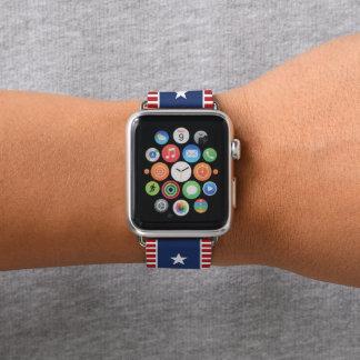 Farben der amerikanischer Flagge. Sterne und Apple Watch Armband