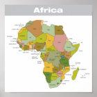 Farbenreiche Karte von Afrika Poster