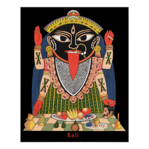 Farbenreiches Plakat der hindischen Göttin Kali