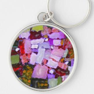 Farbige Glitter-Stellen Silberfarbener Runder Schlüsselanhänger