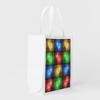 Farbige Schmutz-Herzen - wiederverwendbare Tasche Wiederverwendbare Einkaufstasche