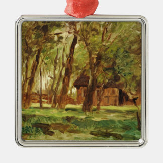 Farmstead unter Bäumen Quadratisches Silberfarbenes Ornament
