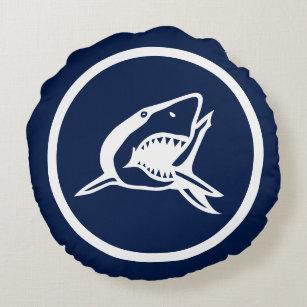 Fast Marineblau WGreat Weißer Hai Nautisch Rundes Kissen