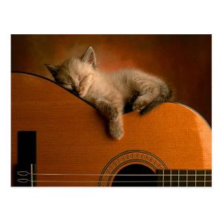 Faules Kätzchen, das auf einer Gitarre Nickerchen Postkarte