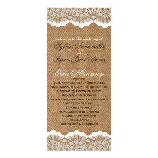 FAUX Burlap and lace Wedding program Rack Cards