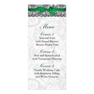 Faux lace and ribbon emerald green wedding Menu Rack Card Template