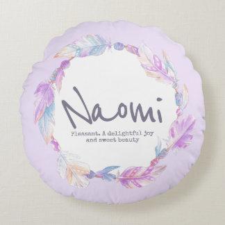 Feder-Aquarellname, der Naomi rundes Kissen Rundes Kissen