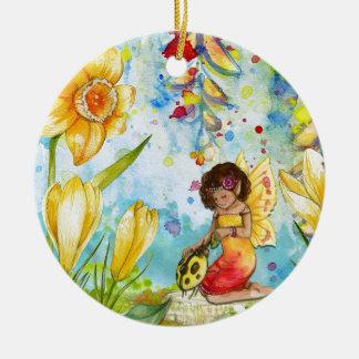 Feenhafte Wasserfarbeillustration wunderlich Rundes Keramik Ornament